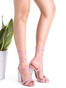 Sandalias de ante con tiras - rosa