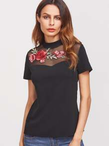 T-shirt Mesh Kragen mit Stickereien Rose Applikationen-schwarz