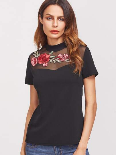 Embroidered Applique Mesh Neck T-shirt