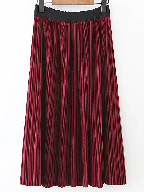 Red Pleated A Line Skirt skirt161230201