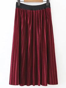 Red Pleated A Line Skirt