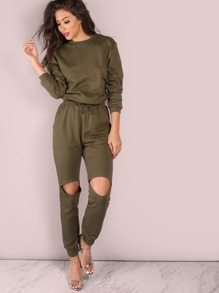 Knee Cut Out Jumper OLIVE