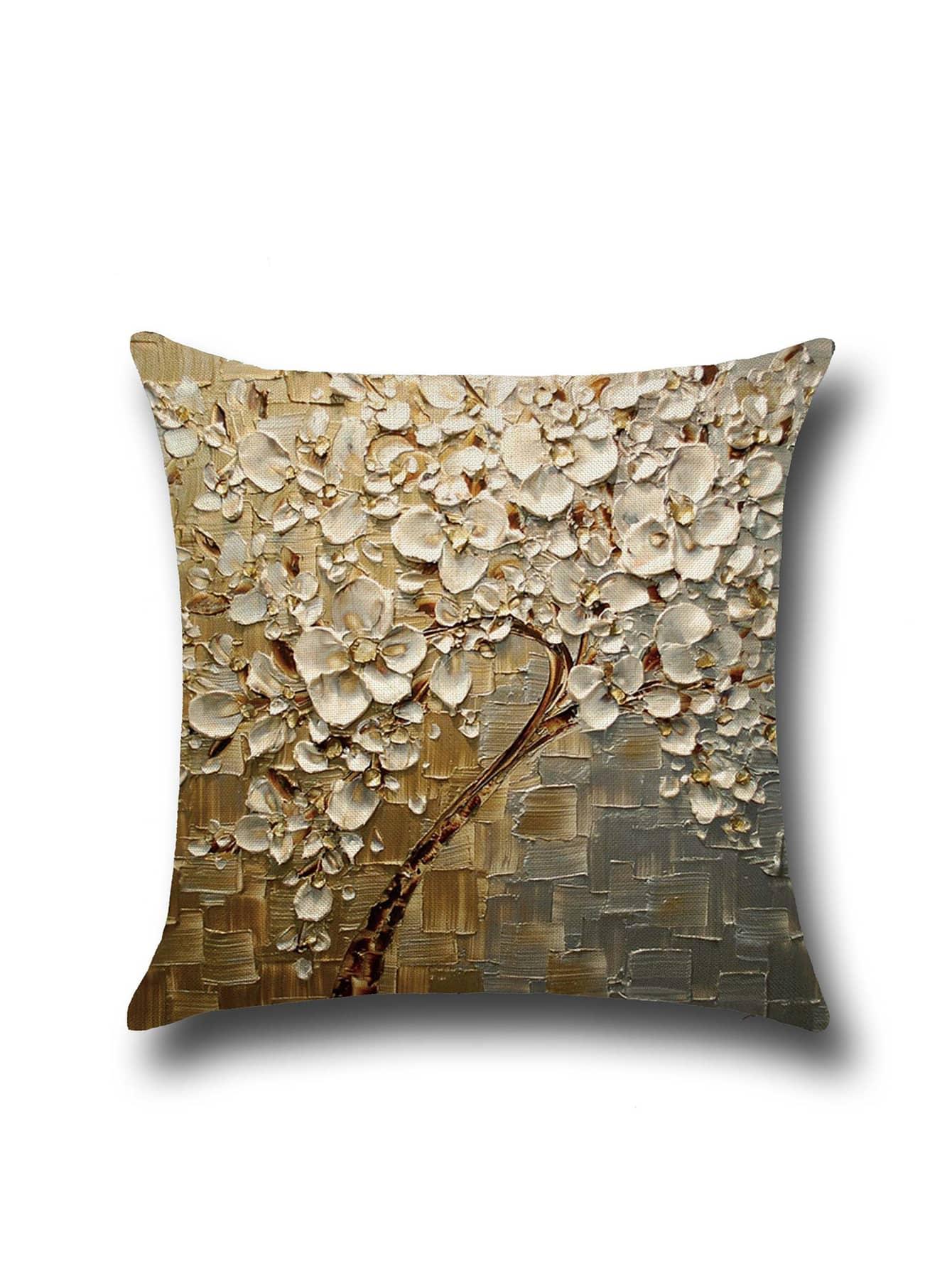Funda de almohada de lino con estampado de la pintura al for Pintura color lino