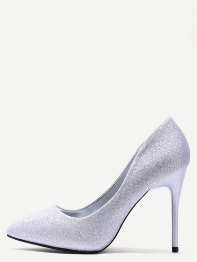 Silver Glitter Sequin Pointed Stiletto Pumps