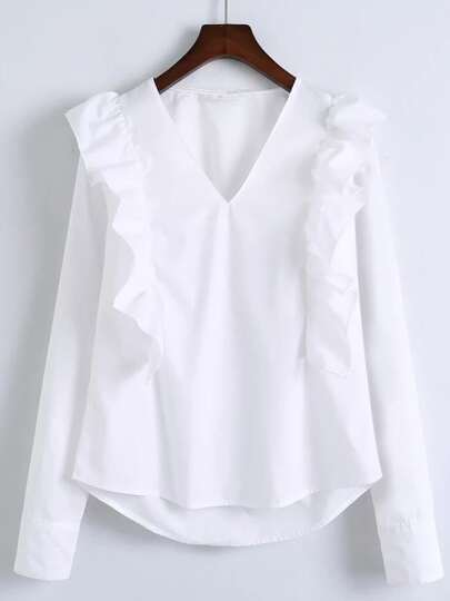 Blusa con cuello en V ribete con volantes - blanco