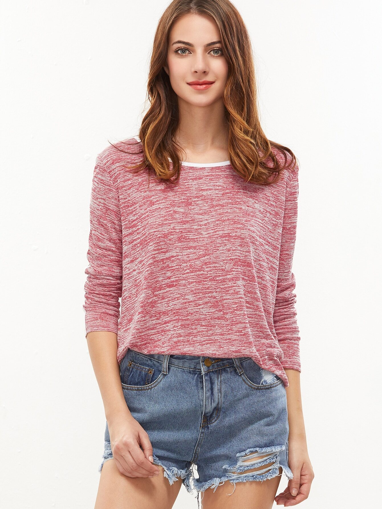 Buy Red Marled Knit Contrast Binding T-shirt