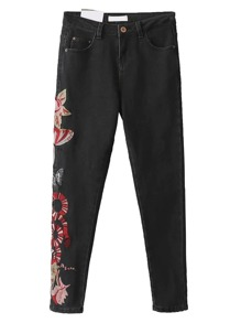 Black Embroidered Side Skinny Jeans