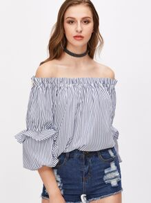Navy And White Striped Off The Shoulder Lantern Sleeve Top
