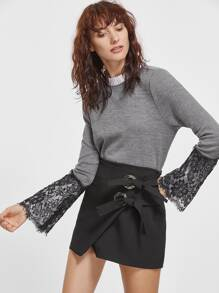 Heather Grey Contrast Ruffle Collar Lace Bell Sleeve T-shirt
