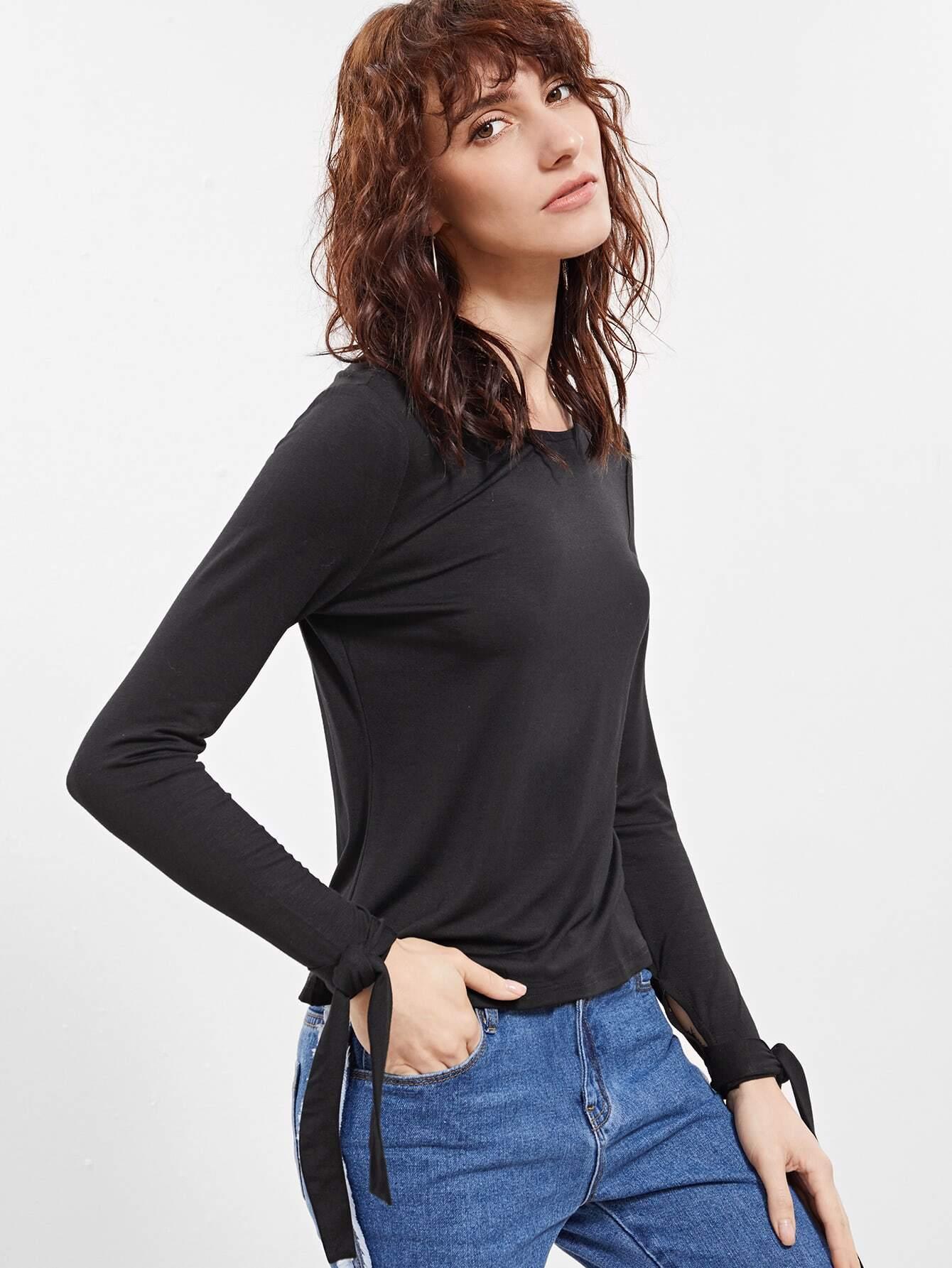 Фото Black Bow Tie Sleeve T-shirt. Купить с доставкой