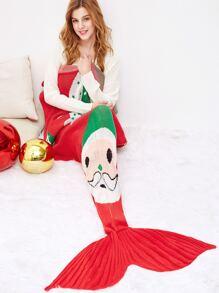 Manta de punto estilo sirena con estampado navideño - rojo
