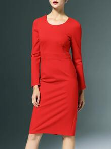 Red Crew Neck Split Sheath Dress