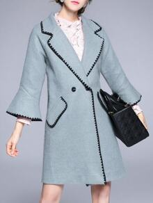 Blue Lapel Bell Sleeve Pockets Coat