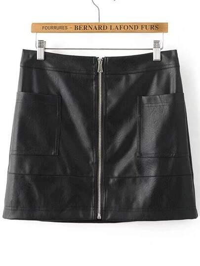 Black Zipper Up PU Mini Skirt