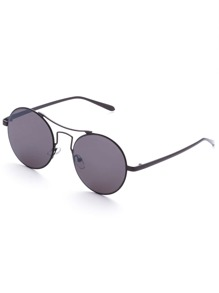 Black Frame Grey Lens Round Retro Sunglasses