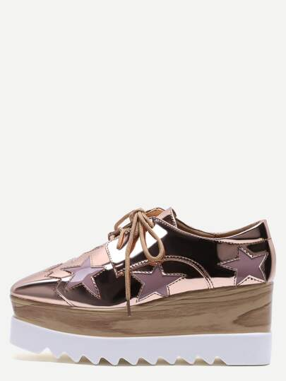 Rose Gold Star Patch Patent Leather Platform Shoes