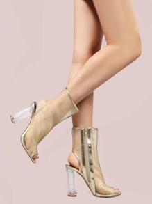 Metallic Mesh Perspex Heel Boots GOLD