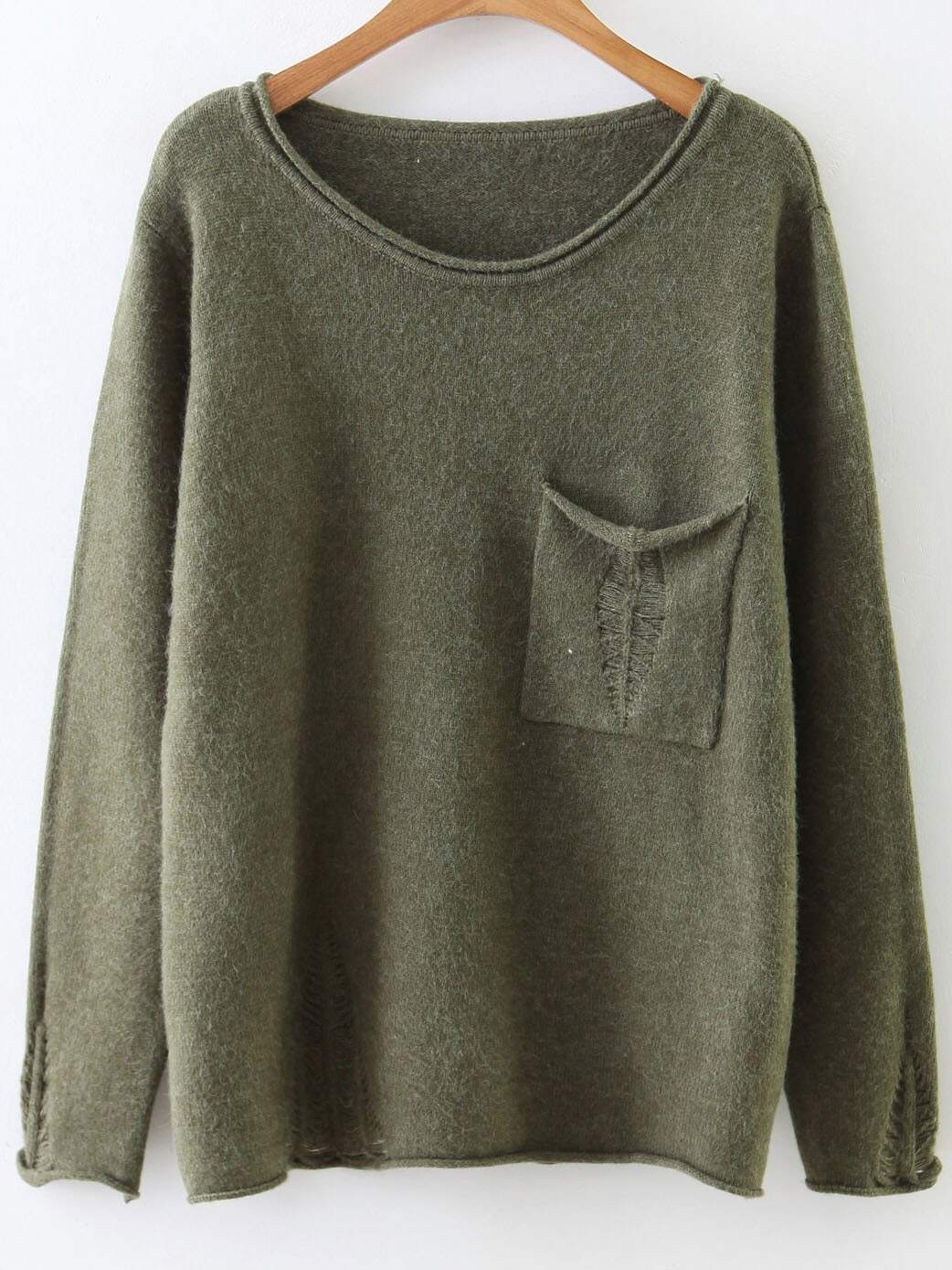 Army Green Rolled Trim Ripped Knitwear With PocketArmy Green Rolled Trim Ripped Knitwear With Pocket<br><br>color: Green<br>size: one-size
