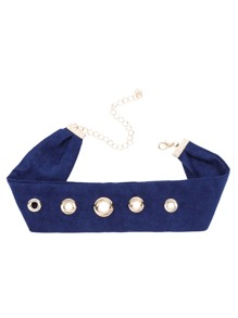 Gold Eyelet Embellished Navy Wide Choker