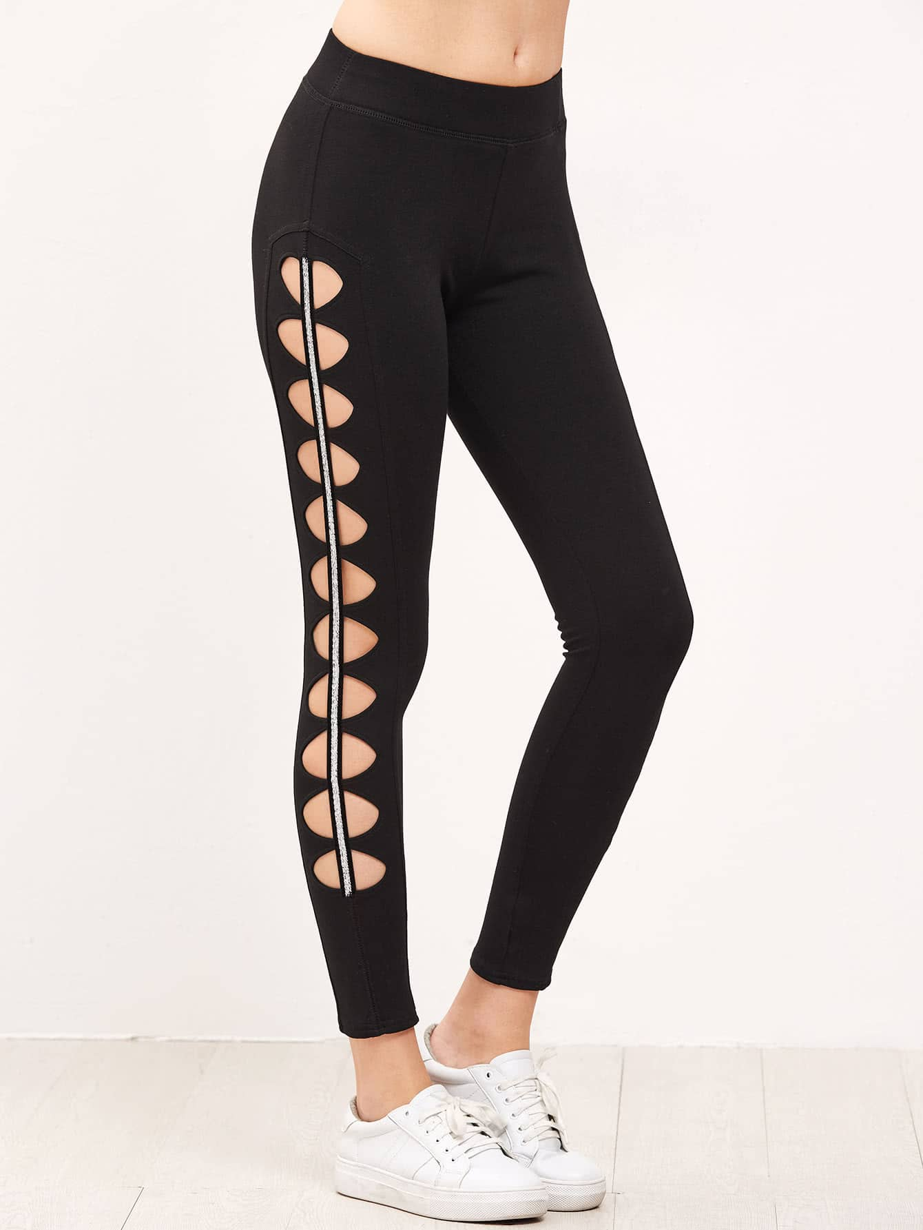 Cutout Striped Side Leggings leggings161201703