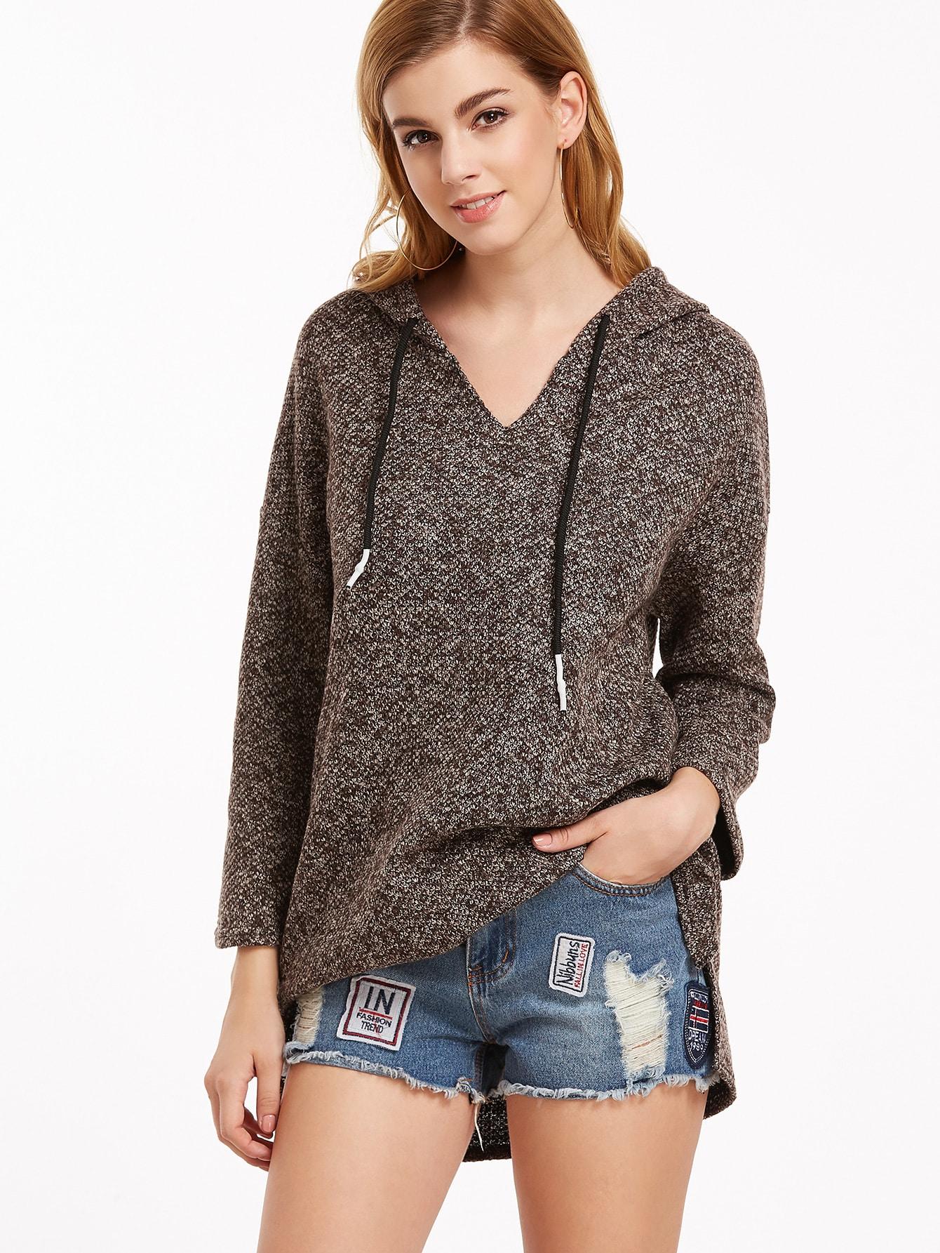 Khaki Hooded Drop Shoulder Slit Side High Low SweatshirtKhaki Hooded Drop Shoulder Slit Side High Low Sweatshirt<br><br>color: Khaki<br>size: one-size