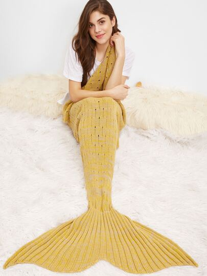 Mustard Marled Knit Eyelet Mermaid Tail Blanket