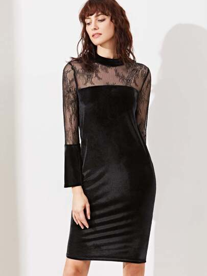 Black Sheer Lace Shoulder Bell Sleeve Velvet Dress