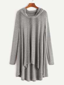 Heather Grey Cowl Neck High Low T-shirt