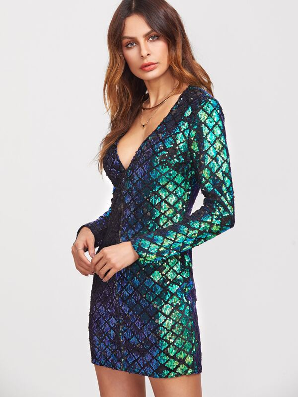 V Neck Peacock Dress