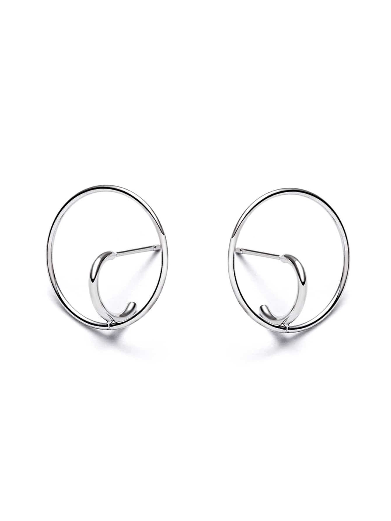 Silver Plated Geo Circle Trumpet Design Earrings