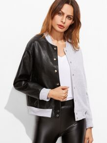 Contrast Mixed Media Button Up Bomber Jacket