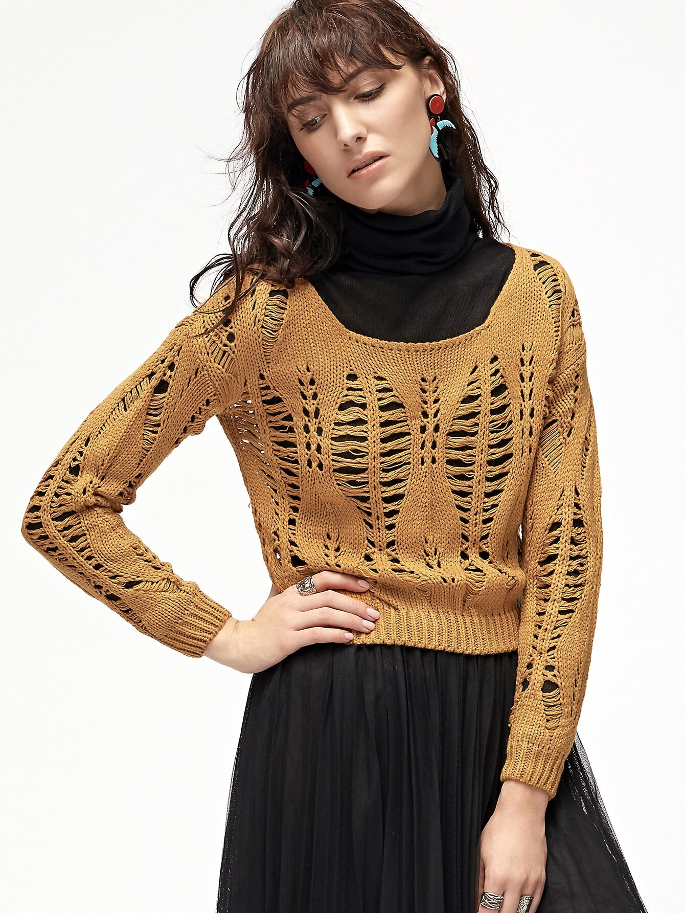 Yellow Drop Shoulder Open Knit Sweater open knit long sweater
