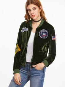 Olive Green Velvet Bomber Jacket With Patch Detail