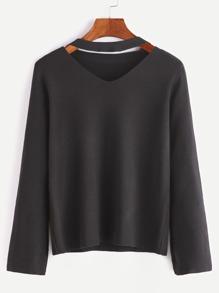 Black Cut Out Choker Neck Jersey Sweater