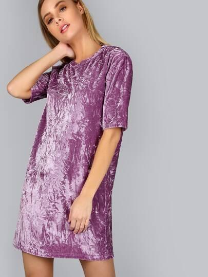 Purple Short Sleeve Crushed Velvet Tee Dress
