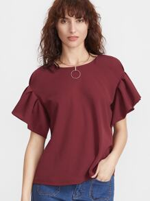 Wine Red Frill Sleeve Top