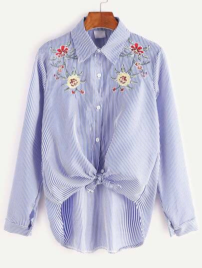Pinstripe Flower Embroidered Knotted High Low Shirt