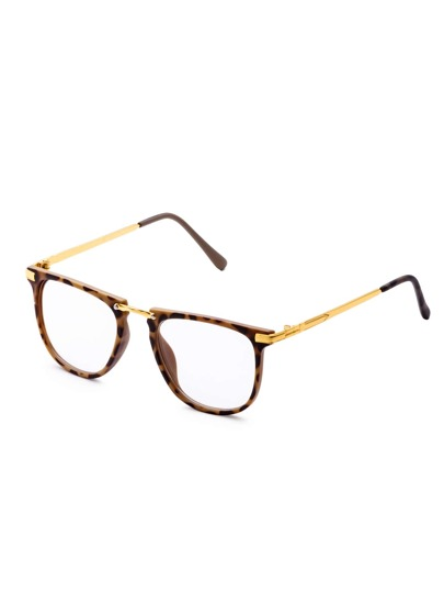 Leopard Frame Clear Lens Sunglasses