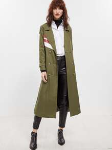 Olive Green Rain Shield Back Wrap Trench Coat