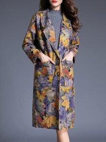 Multicolor Lapel Leaves Print Pockets Coat
