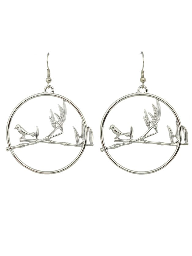 Silver Color Big Round Bird Drop Earrings