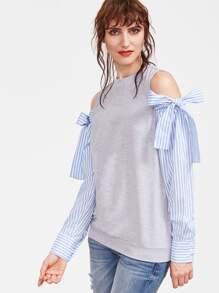 Sweat-shirt à l'épaules fendues à rayure sur manches -gris bruyère