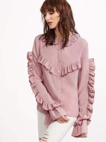 Pink Button Up Ruffle Blouse