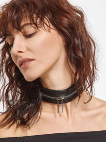 Black PU Leather Zip Around Punk Choker