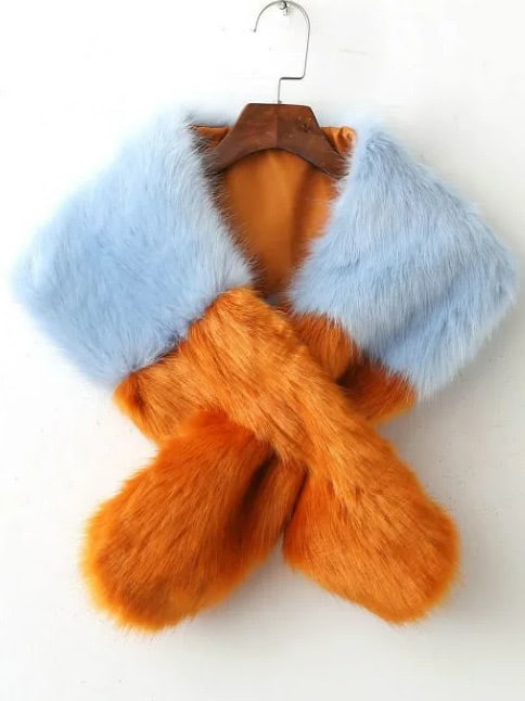 Color Block Cross Faux Fur StoleColor Block Cross Faux Fur Stole<br><br>color: Blue<br>size: None