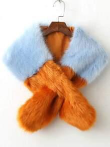 Color Block Cross Faux Fur Stole
