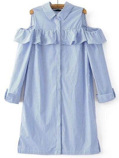 Blue Striped Ruffle Detail Cold Shoulder Dress