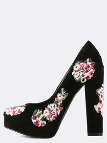 Chunky Heel Embroidered Floral Pumps BLACK
