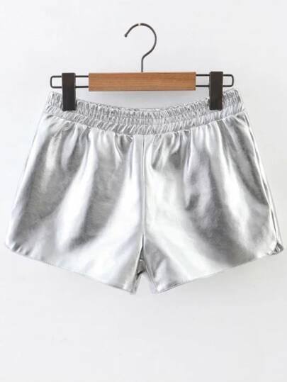 Pantalones cortos de PU con cintura elástica - plateado