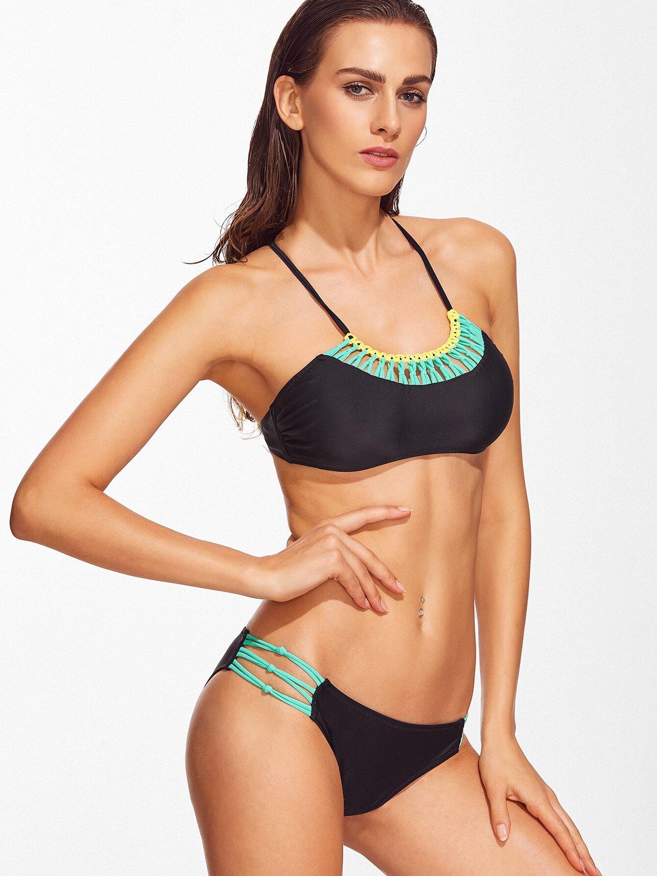 Black Contrast Trim Criss Cross Bikini Set swimwear161213310
